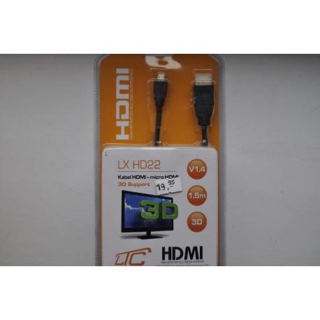 Przewód HDMI - micro HDMI 1,5m Cu v1.4 /HD22/